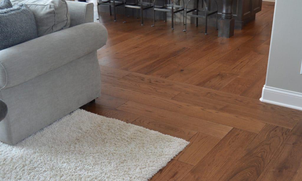 hardwood floor cream shag carpet inlay