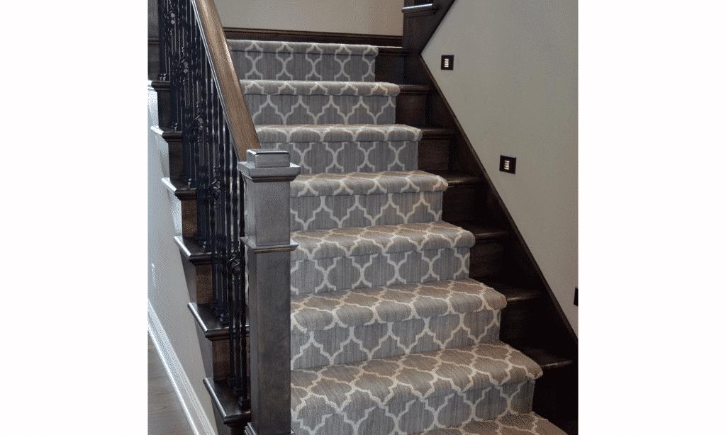 custom grey white pattern carpet stair runner