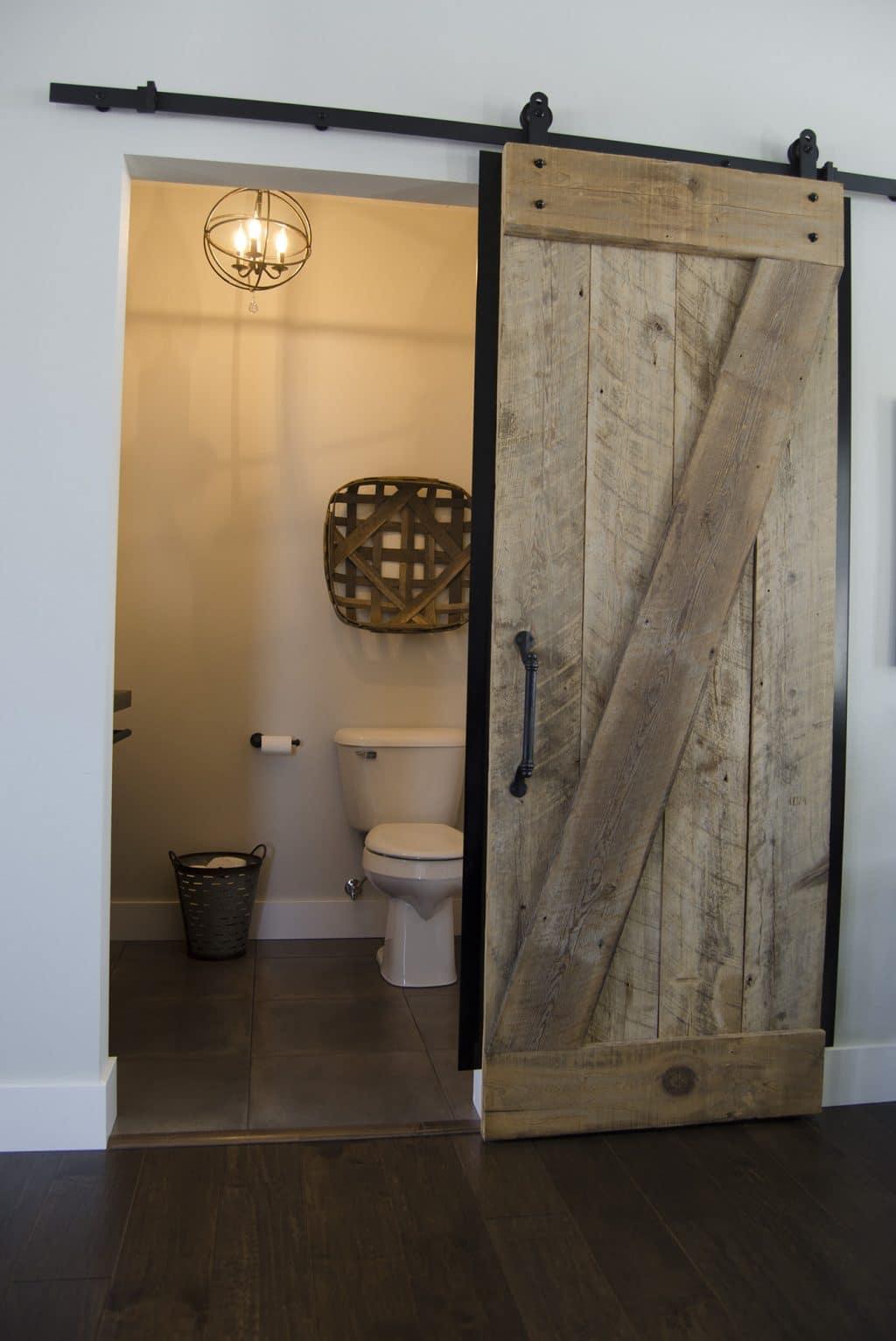 modern farmhouse powder room hardwood flooring square tile floor