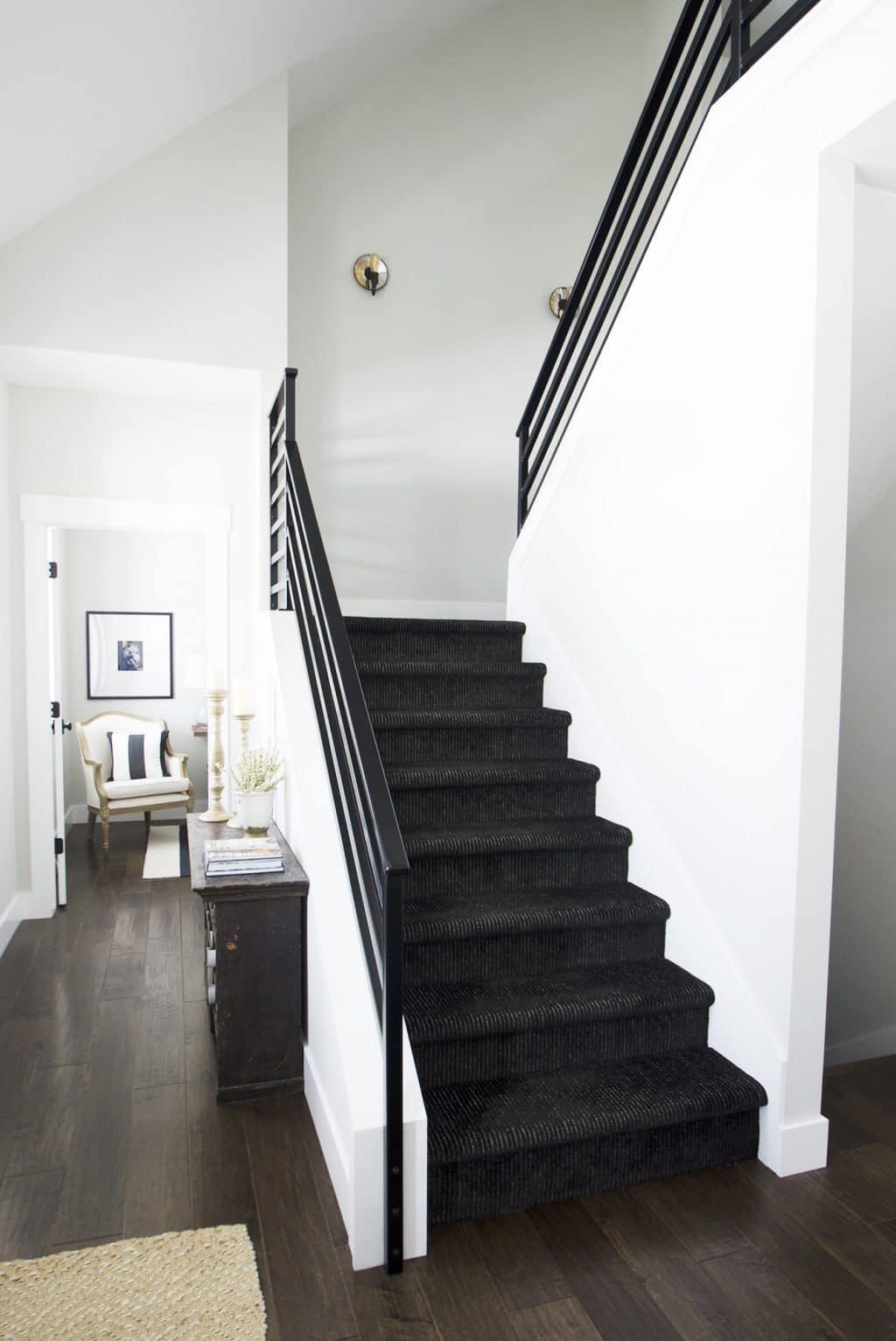 black carpet custom stair runner medium brown hardwood floor