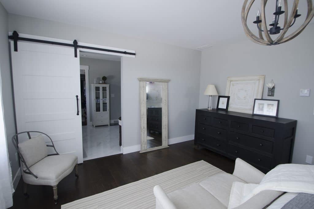 modern farmhouse bedroom medium brown hardwood floor