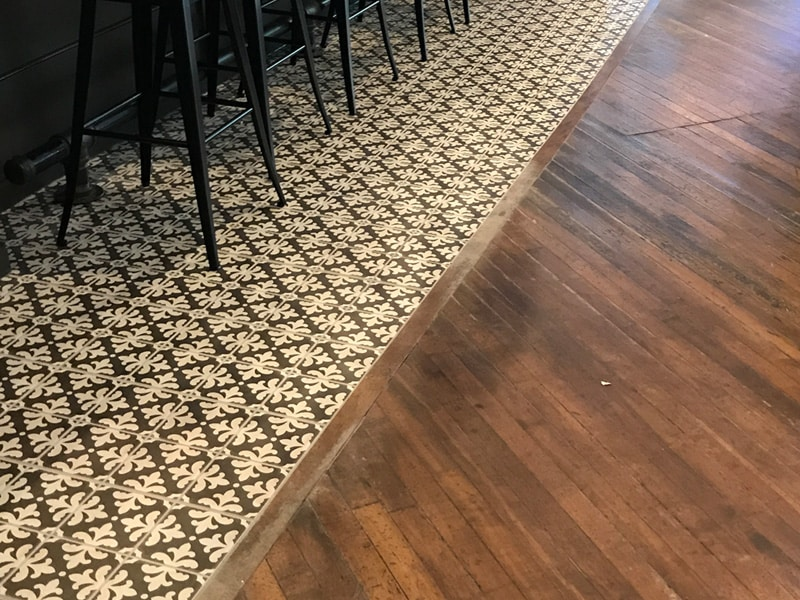 tile and wood flooring transition