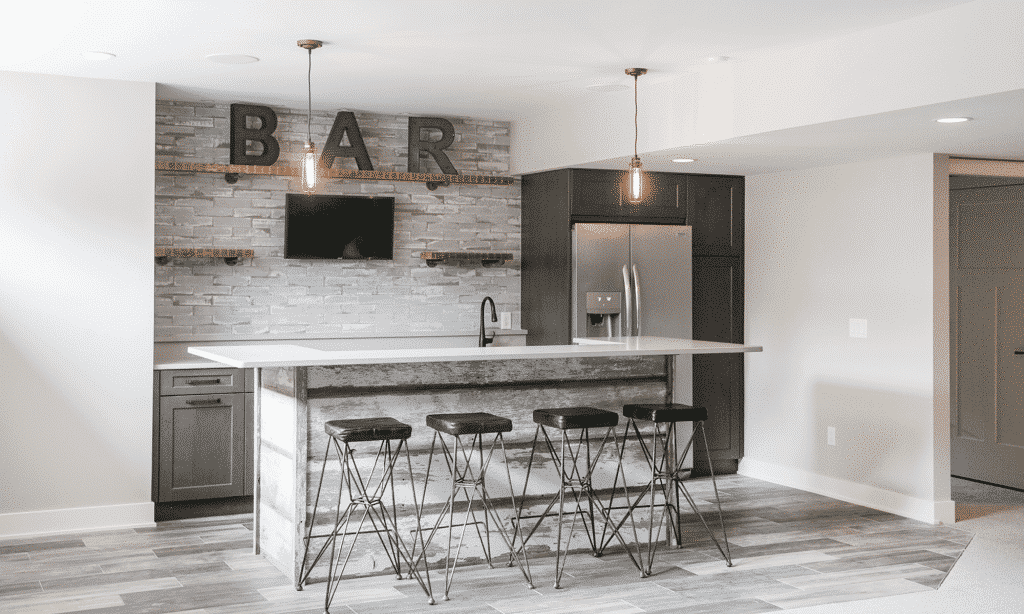 industrial style bar tile backsplash wood look distressed tile floor