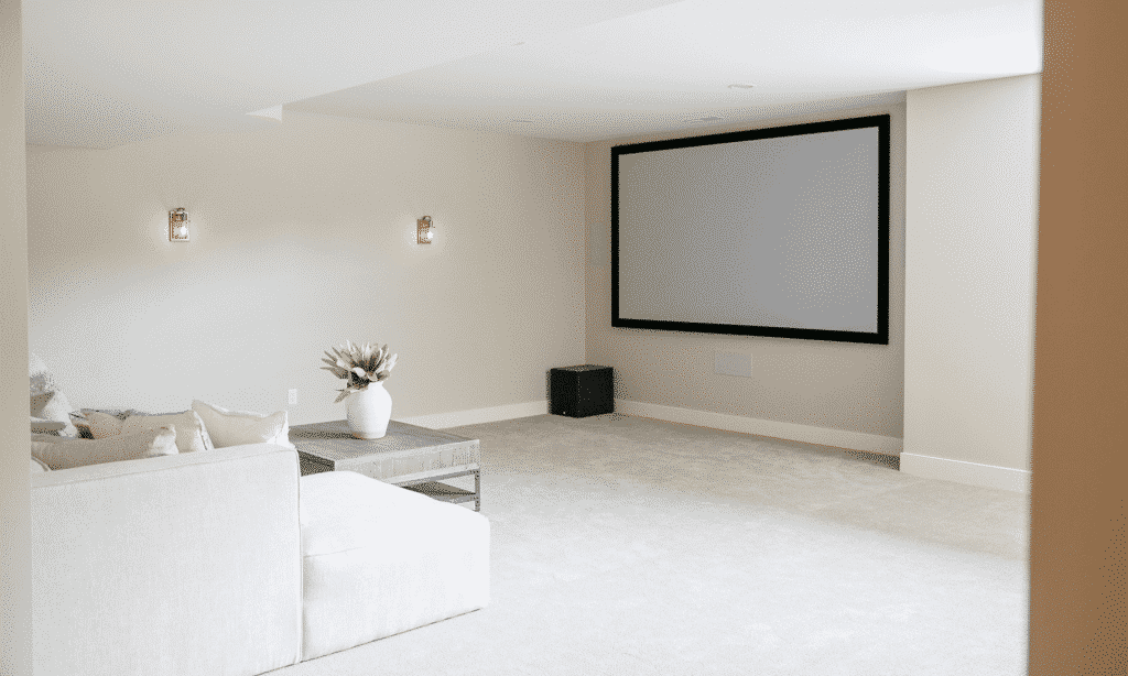 carpeting lower level media room