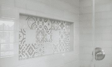 painted tile shower niche