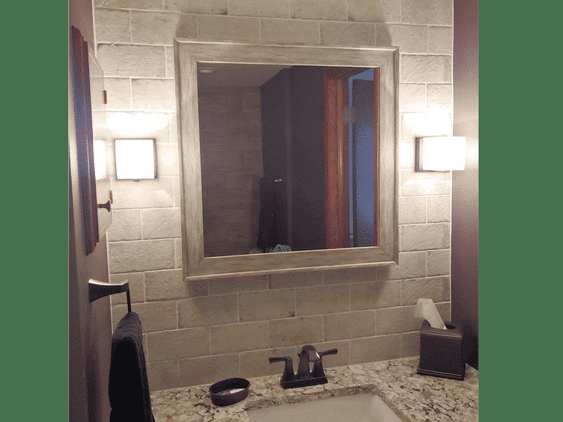 brick tile bathroom wall backsplash