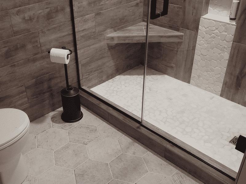 wood look tile shower hexagon tile floor bathroom