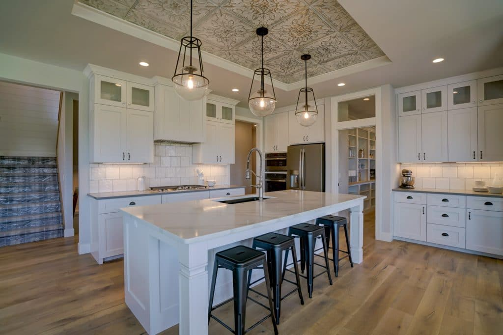 modern country style kitchen hardwood floor white tile backsplash