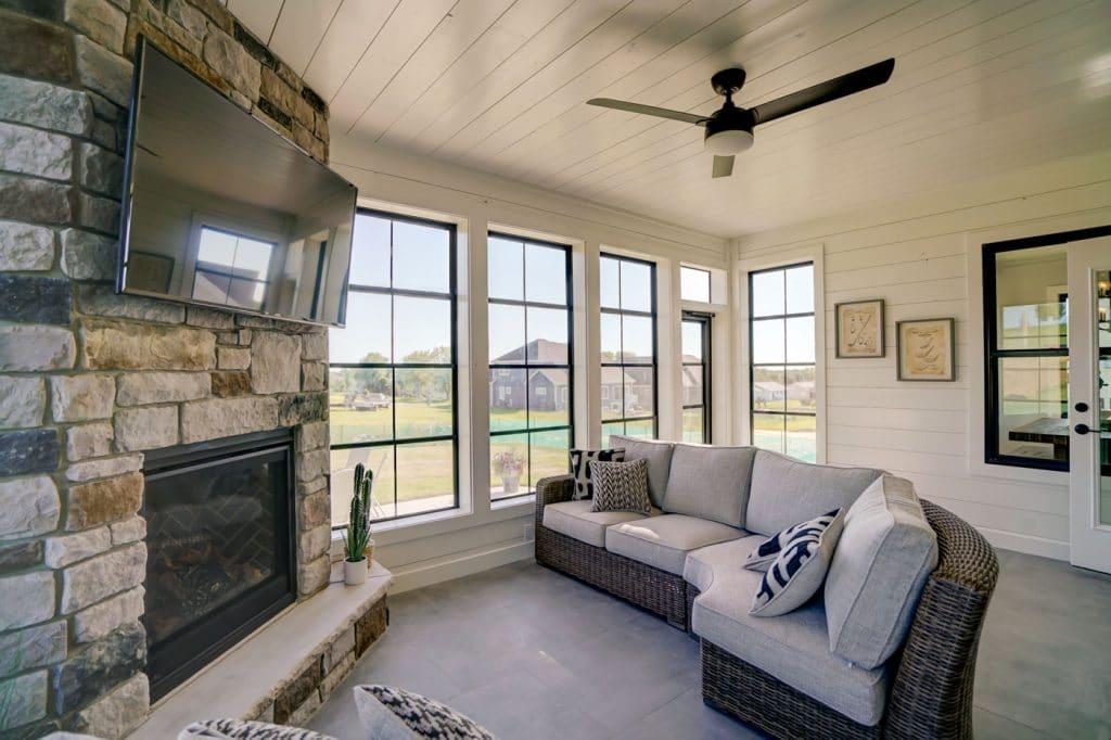 large grey tile floor three season porch