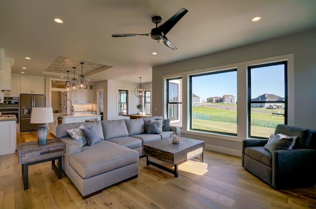 modern country style living room hardwood floor light brown