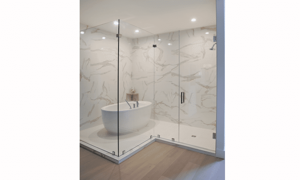 white marble tile wet room hardwood floor master bathroom