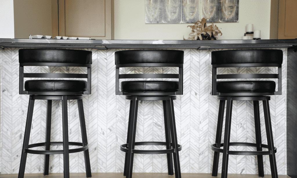 chevron stone tile home bar
