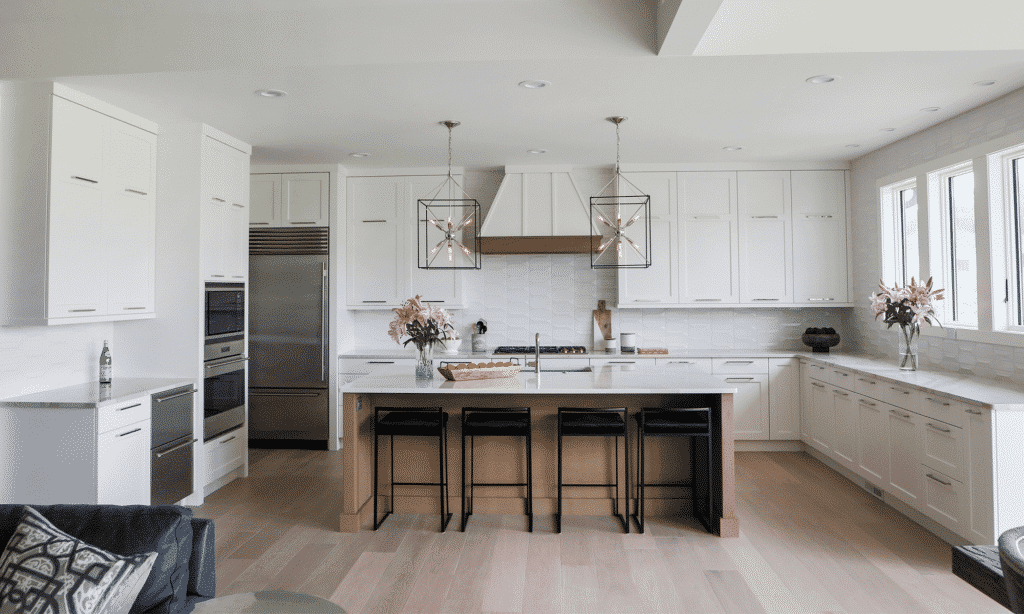 midcentury modern white tile kitchen backsplash light hardwood floor