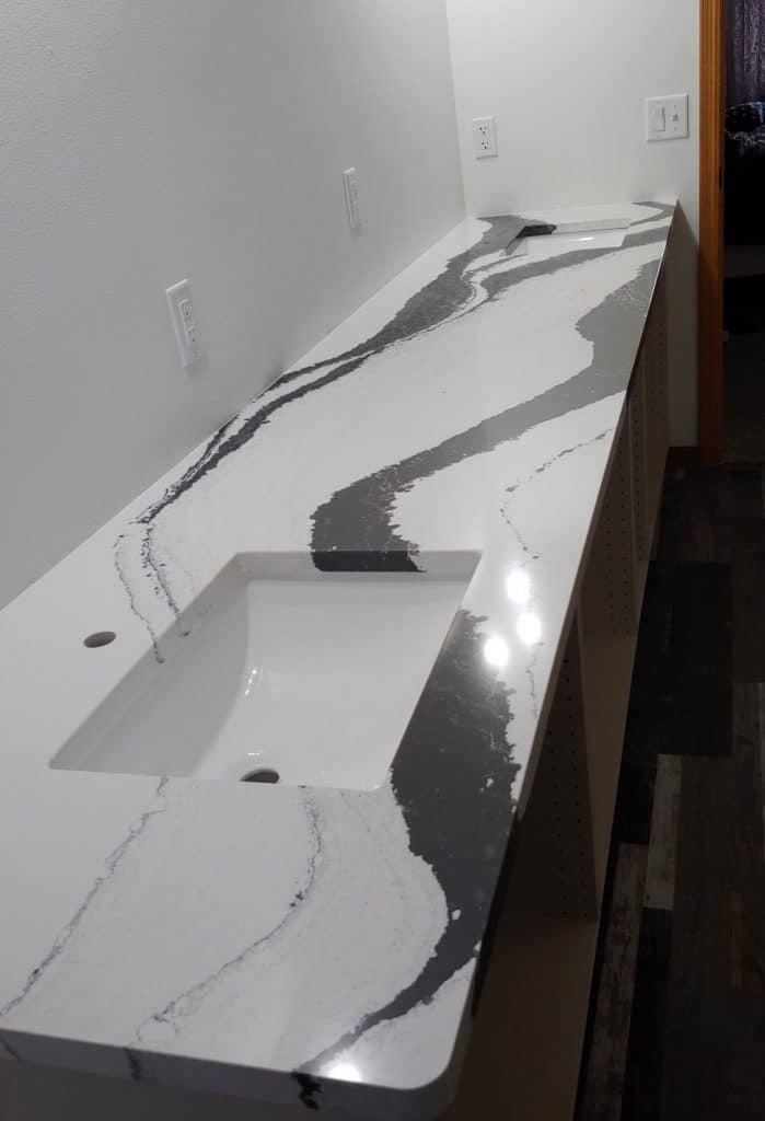 white and black bathroom counter cambria
