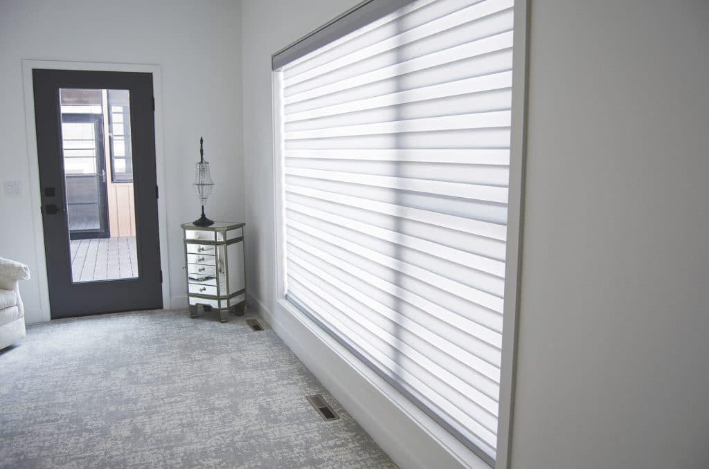 white window horizontal custom treatments abstract pattern carpet master bedroom