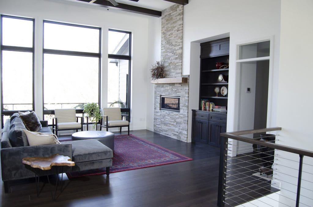 midcentury modern living room dark hardwood flooring