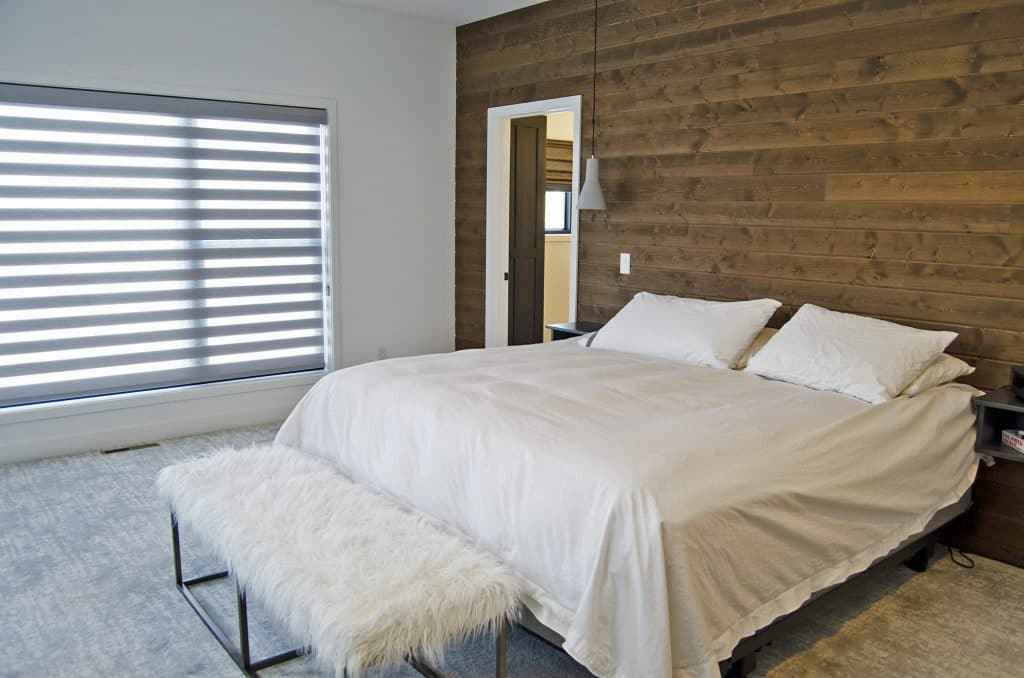 hardwood wood wall master bedroom abstract carpeting