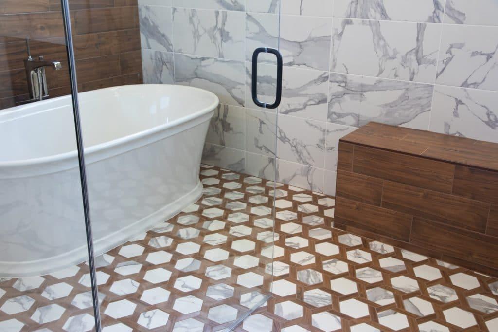 wet room marble tile wood look tile walls