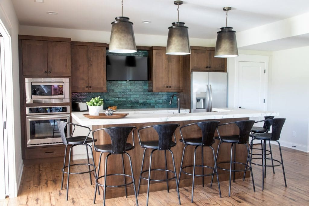 green tile wood look laminate flooring lower level kitchen