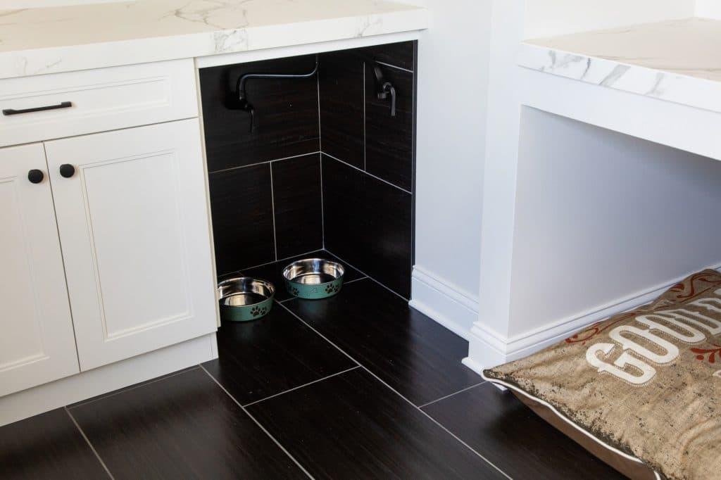 black tile flooring mudroom white grout