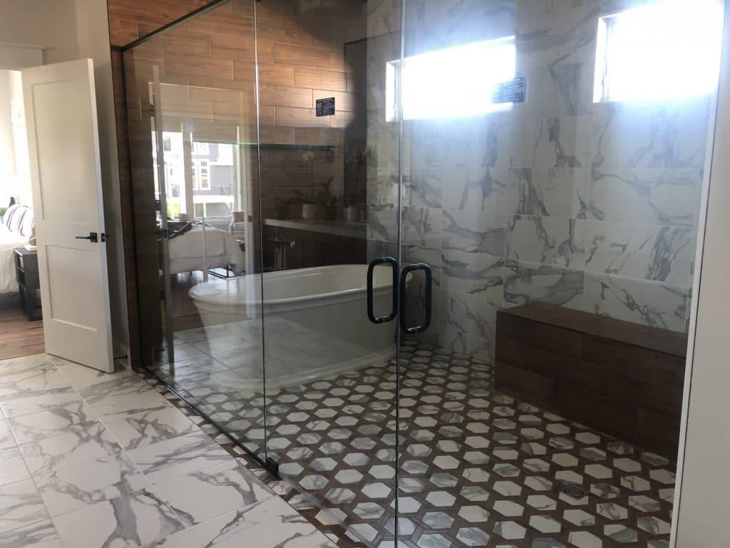 wood look tile marble tile wet room