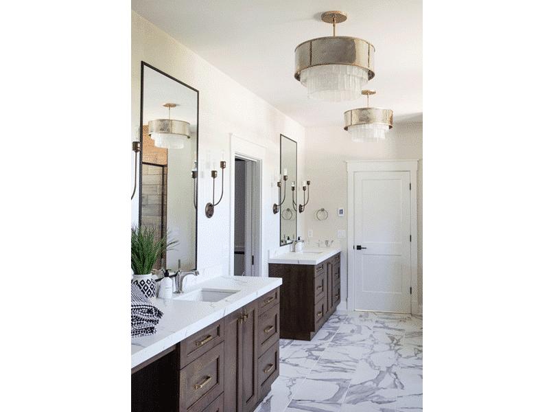 white tile master bathroom floor