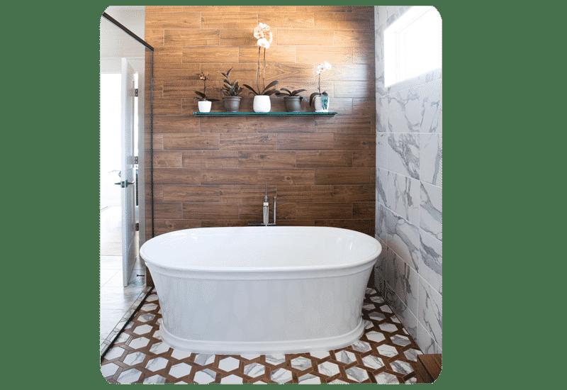 wood look tile wet room