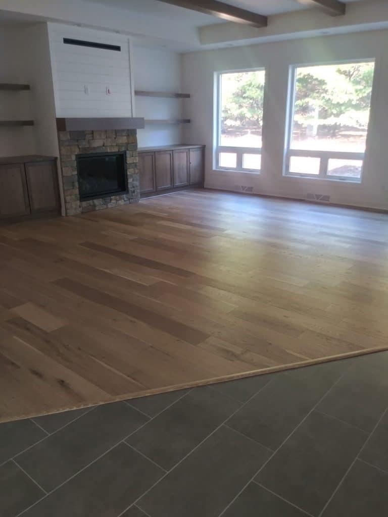 hardwood and tile flooring main level