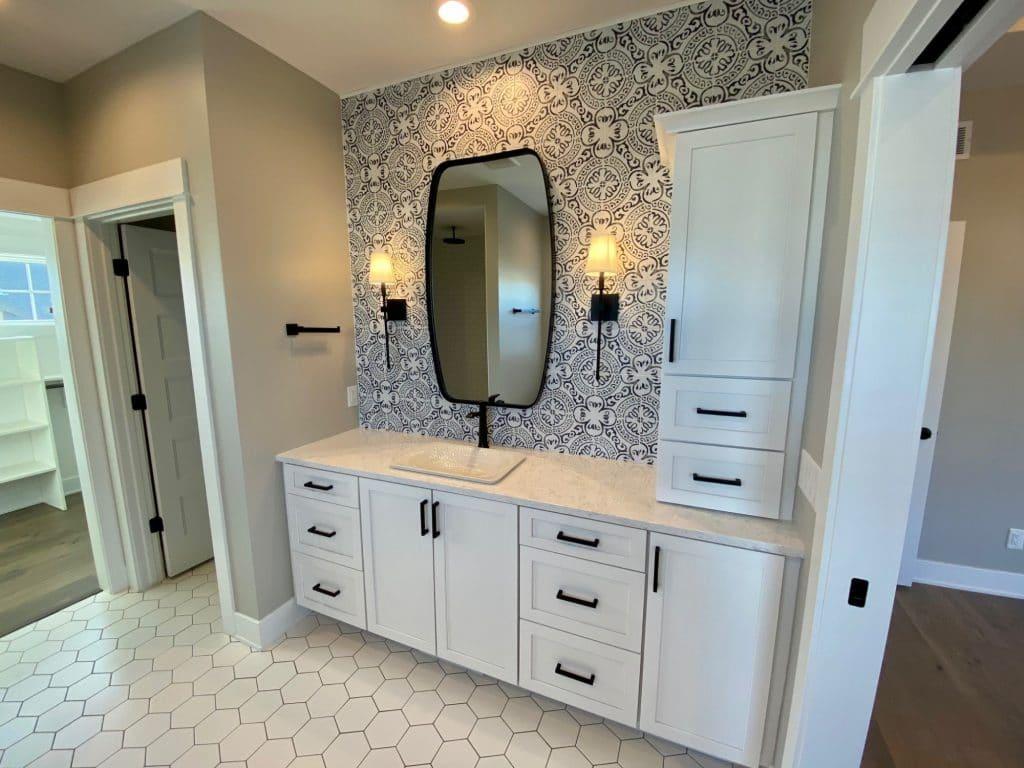 painted tile bathroom backsplash white hexagon tile floor
