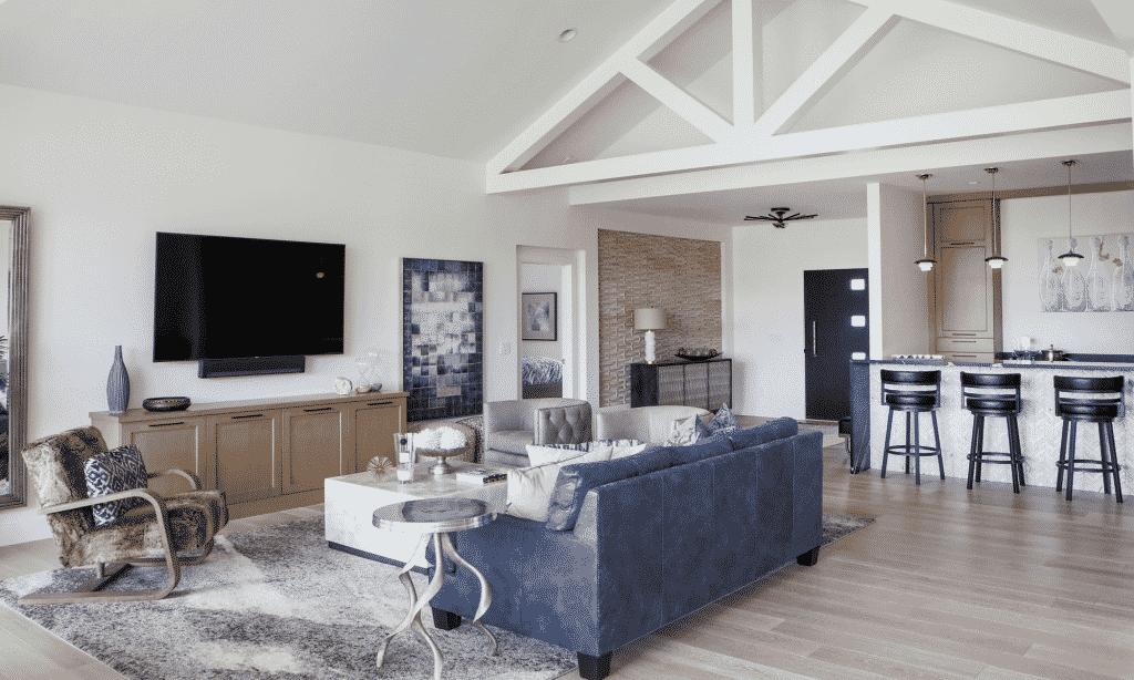 midcentury modern great room tile home bar hardwood floor