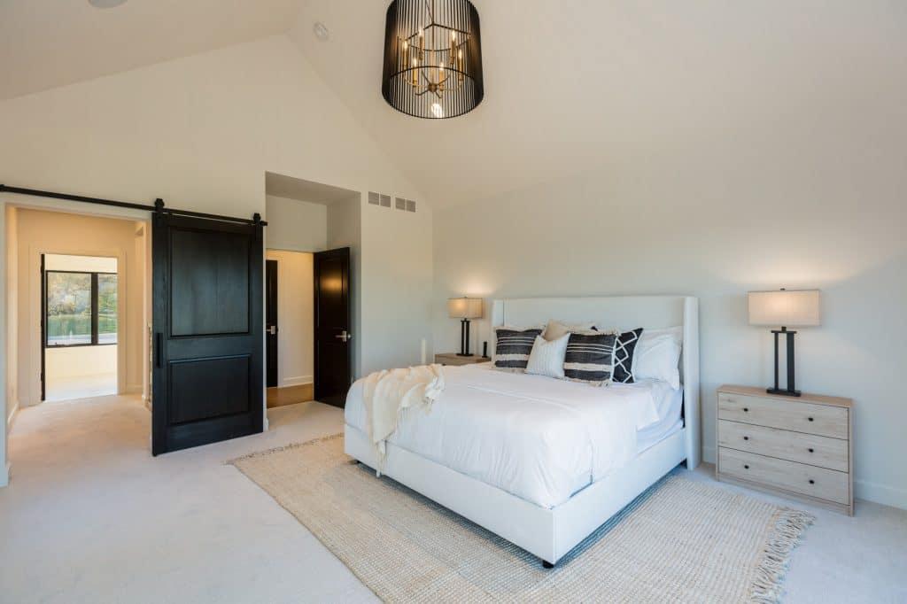 master bedroom carpet floor layered custom area rug