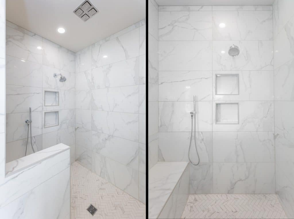 white marble tile shower herringbone floor niches