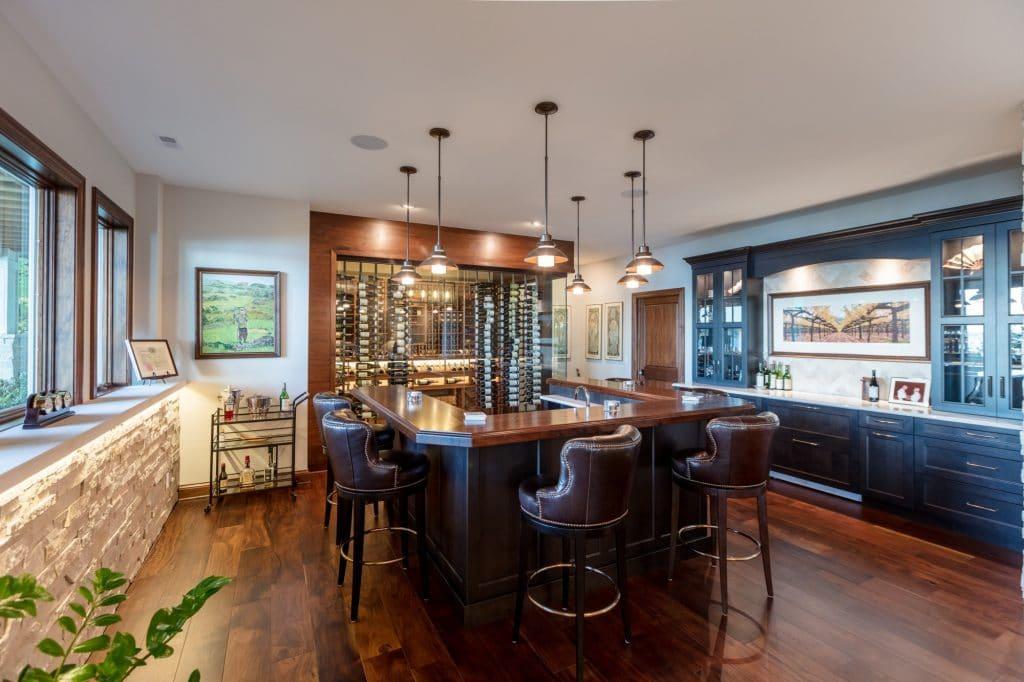 hardwood floor lower level bar area