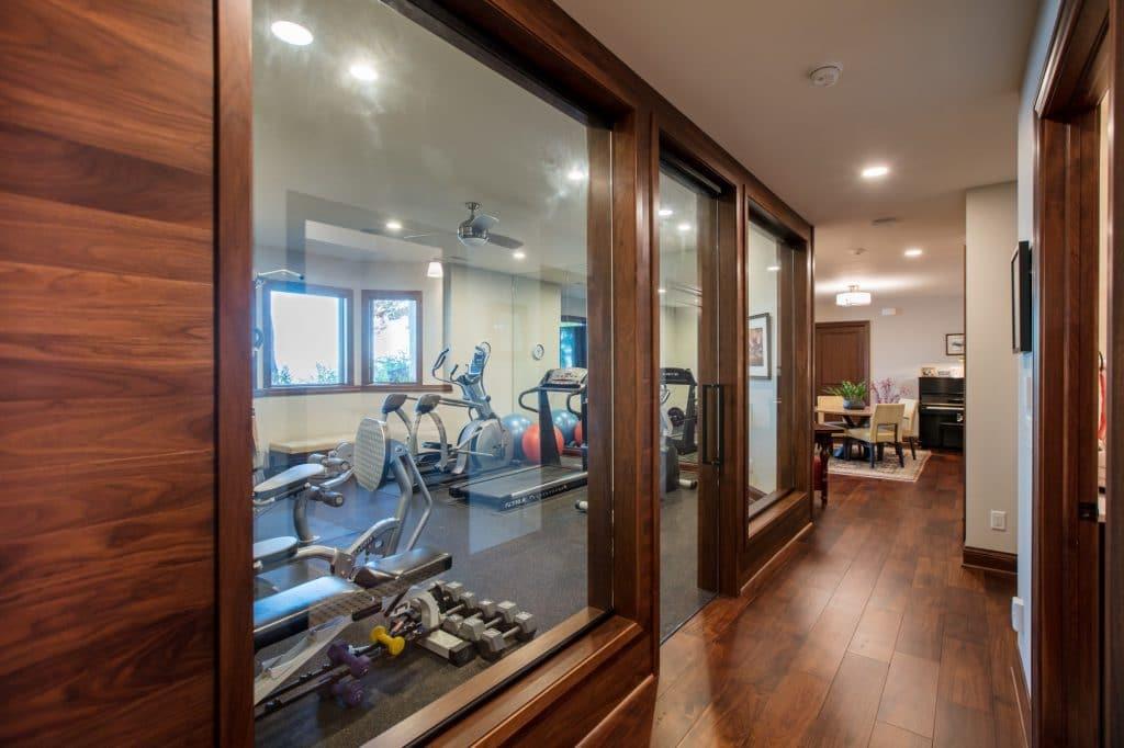 hardwood floor rubber floor workout exercise room