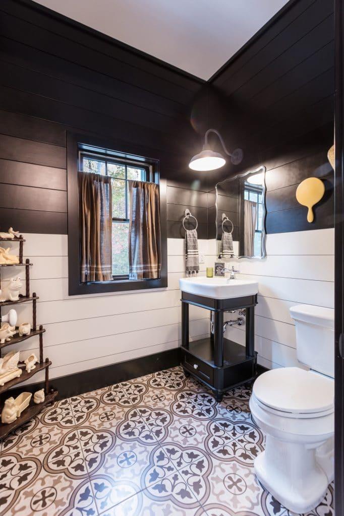 black and white bathroom painted floor