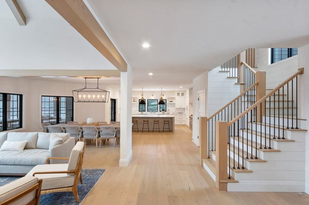 coastal farmhouse hardwood floor light oak