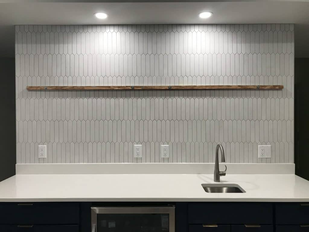 elongated hexagon tile bar backsplash