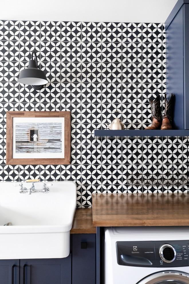 painted tile backsplash mud room laundry room