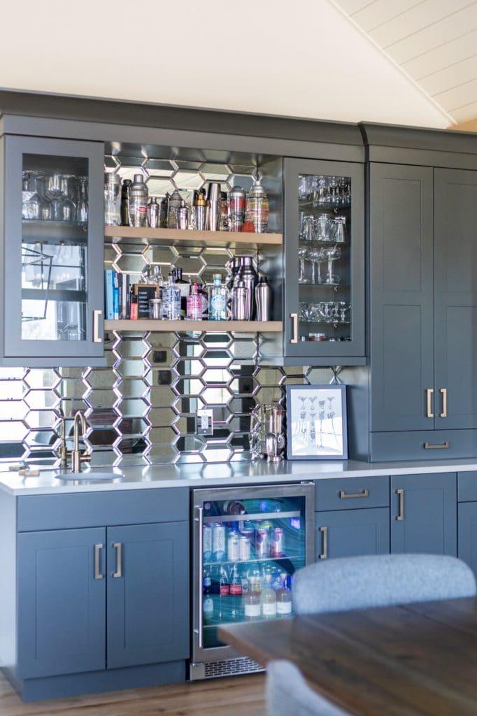 mirror tile home bar backsplash tile