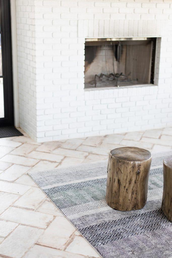 rustic tile herringbone installation three season porch