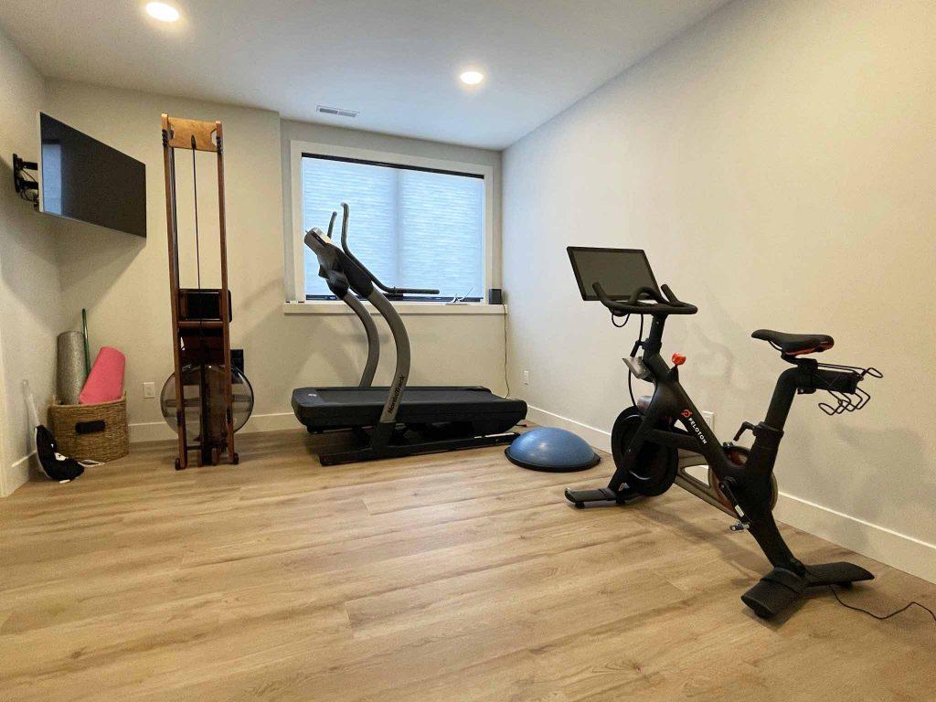 luxury vinyl plank lower level workout room