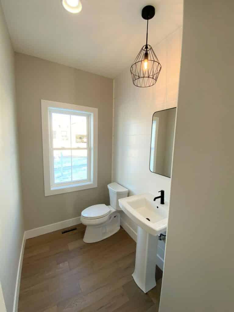hardwood floor powder room