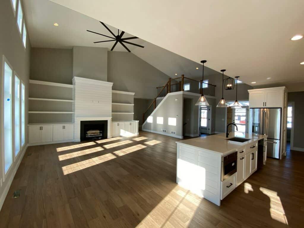 hardwood floor great room kitchen medium brown