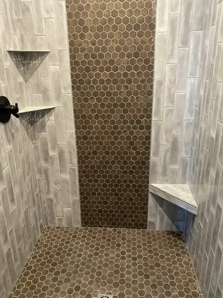 gray brown bathroom shower tile bench shelves