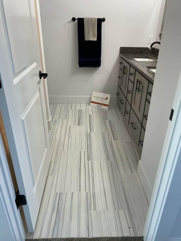 vertical installation bathroom floor tile