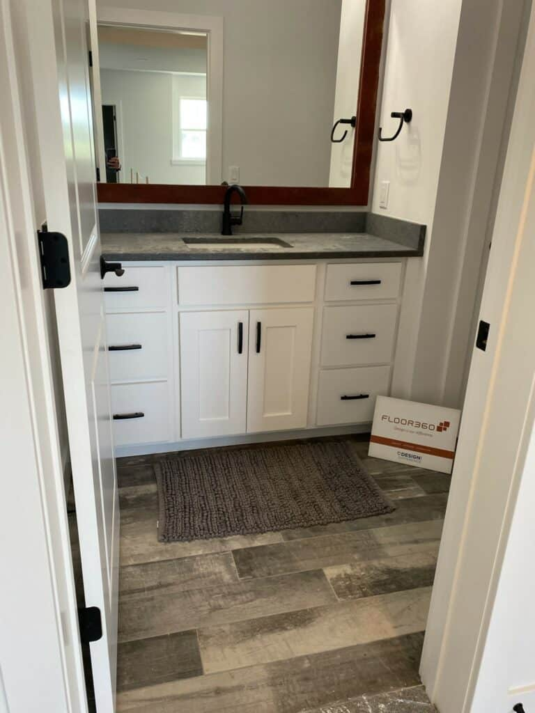 distressed wood look tile bathroom floor