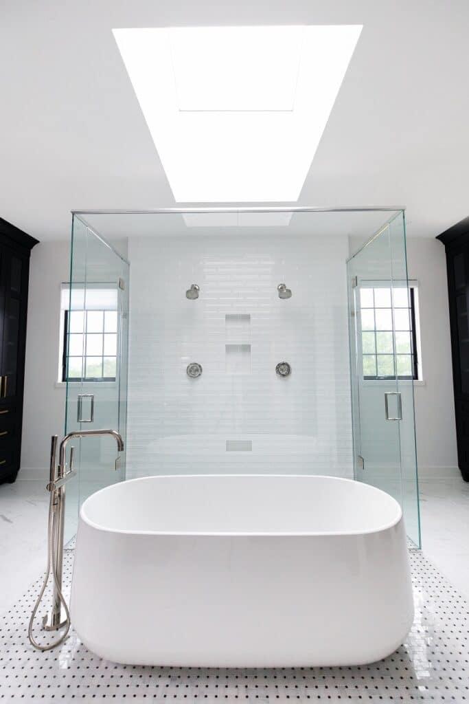 glass wall shower white tile double shower wet room