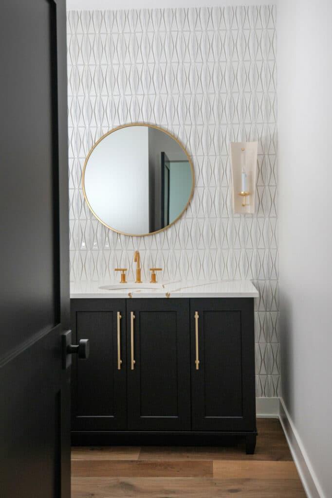 textured powder room white tile backsplash