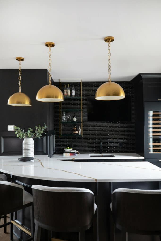 black tile bar backsplash