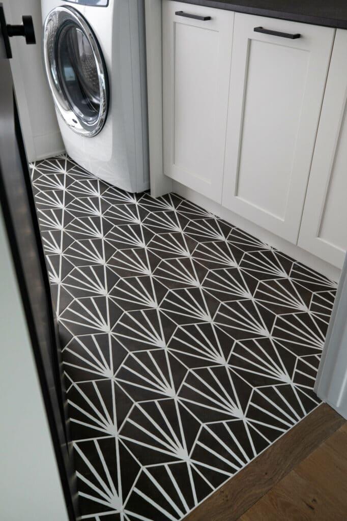 black and white hexagon tile laundry room floor